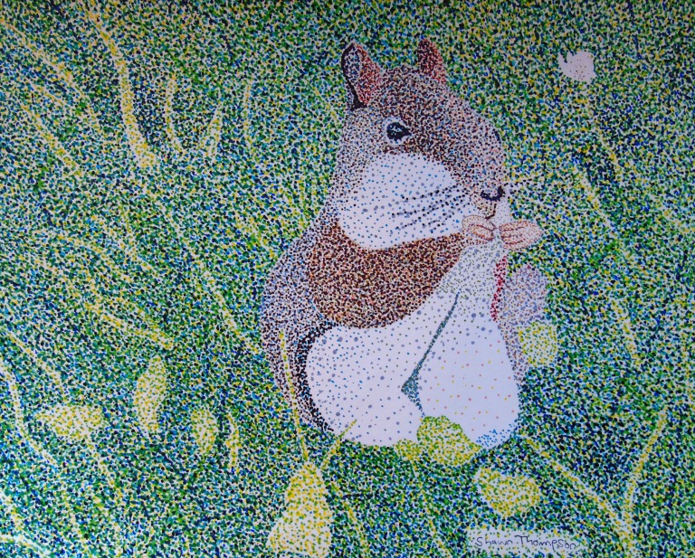 Red Squirrel Pointillism_ul