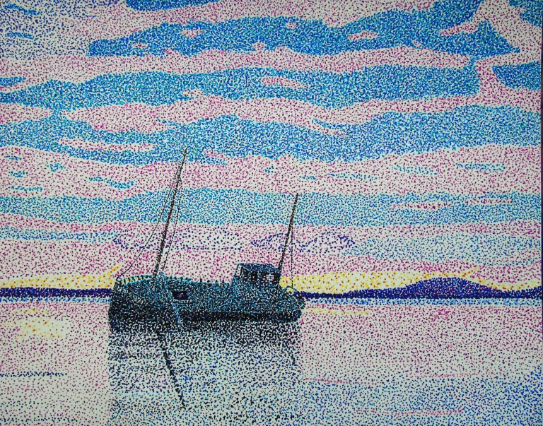 shipwreck_sunset_pointillism_ul